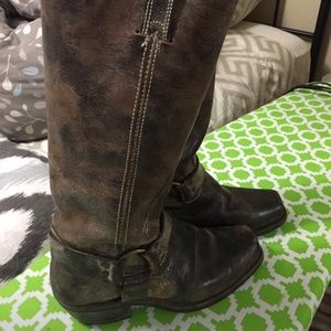 Distressed Frye harness boots
